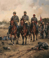 Confederate General Stonewall Jackson surveys a battle scene